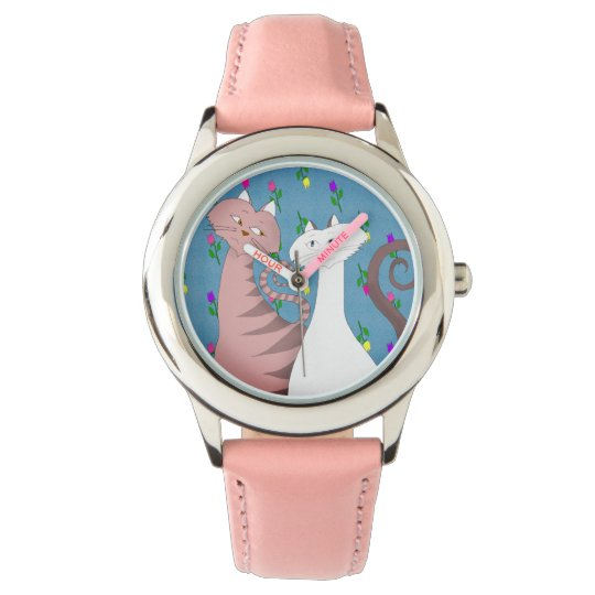 Cute Cats Floral Background Girl's Pink Watch
