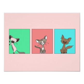 Cute Cats (Meet the Mews) 11 Cm X 14 Cm Invitation Card