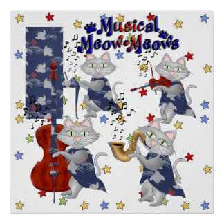 Cute Cats Musical Cat Band Poster