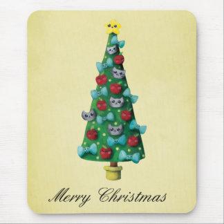 Cute Cats on Christmas Tree Mousepad