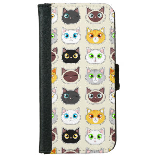 Cute Cats Pattern iPhone 6 Wallet Case