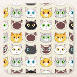 Cute Cats Pattern Square Paper Coaster