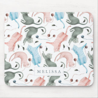 Cute Cats Pattern Watercolors Illustration Mouse Pad