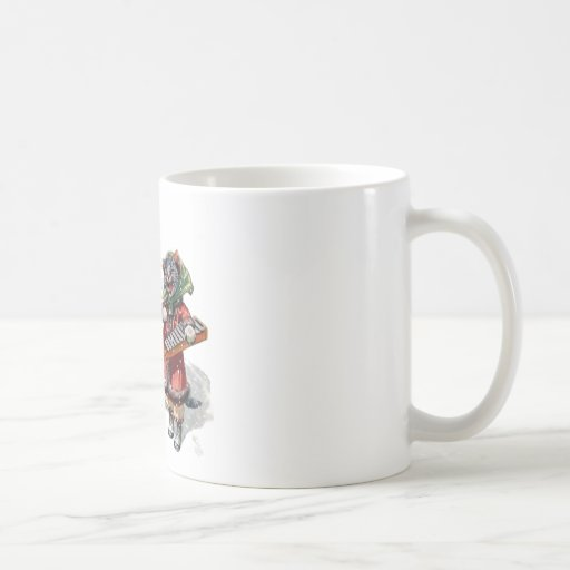 Cute Cats Play Mandolin and Xylophone in the Snow Basic White Mug