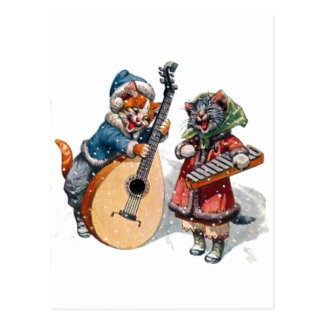 Cute Cats Play Mandolin and Xylophone in the Snow Postcard