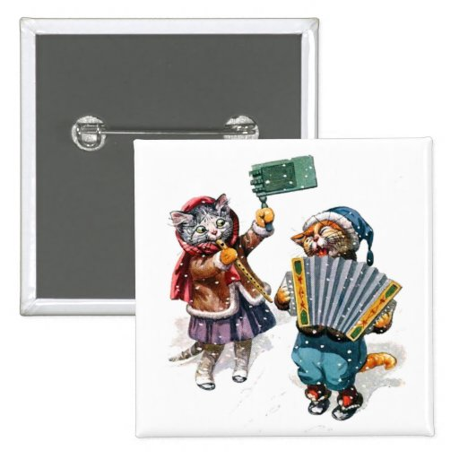 Cute Cats Play the Accordion in the Snow 15 Cm Square Badge