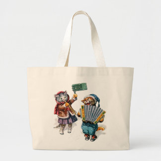 Cute Cats Play the Accordion in the Snow Jumbo Tote Bag