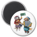 Cute Cats Play the Accordion in the Snow 6 Cm Round Magnet