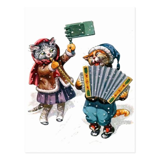 Cute Cats Play the Accordion in the Snow Post Card