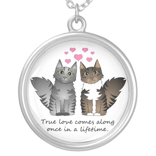 Cute Cats - True Love Silver Plated Necklace