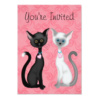 Cute Cats Valentine Birthday Invitation for Girls