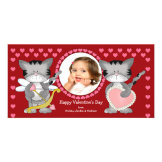 Cute Cats Valentine s Day Photo Card Template