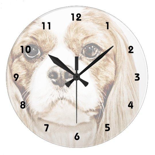 Cute Cavalier King Charles Spaniel Large Clock
