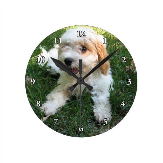 CUTE CAVAPOO PUPPY ROUND CLOCK