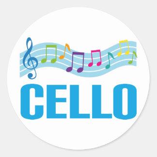 Cute Cello Music Staff blue Round Stickers