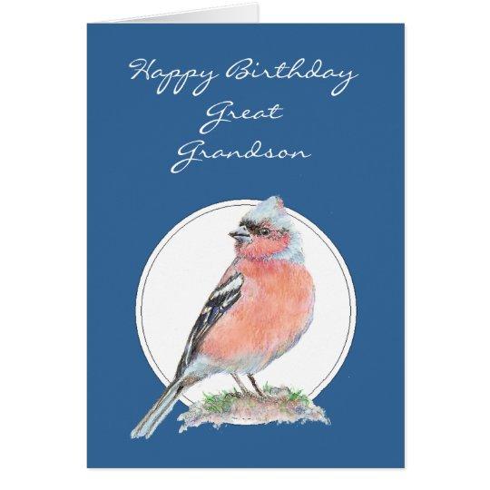 Cute Chaffinch, Birthday Great Grandson Card