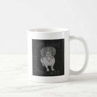 Cute Chalk Drawing of Happy Spaniel Coffee Mugs
