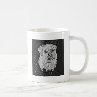 Cute Chalk Drawing of White Labrador Dog Basic White Mug