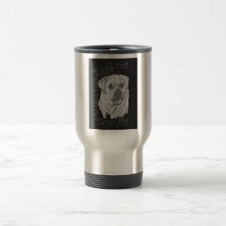 Cute Chalk Drawing of White Labrador Dog Travel Mug