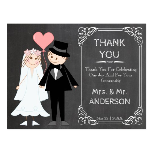 Cute chalked wedding couple thank you postcard