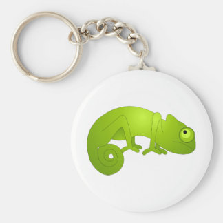 Cute Chameleon - Green Basic Round Button Key Ring