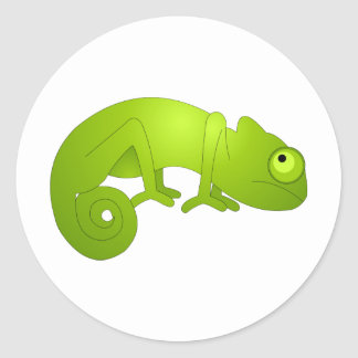Cute Chameleon - Green Classic Round Sticker