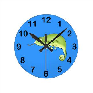 cute chameleon round clock