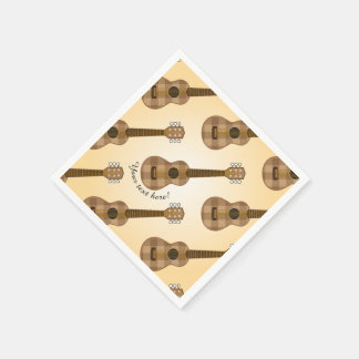 Cute Checkered Brown Guitar Graphic Paper Napkin