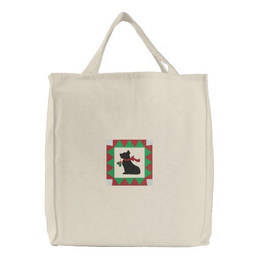 Cute Checkered Christmas Scottie Dog Embroidered Bag