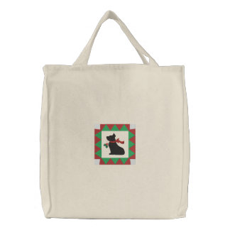 Cute Checkered Christmas Scottie Dog Embroidered Tote Bag