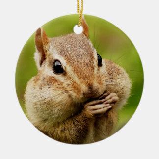 Cute Cheeky Chipmunk Christmas Ornament