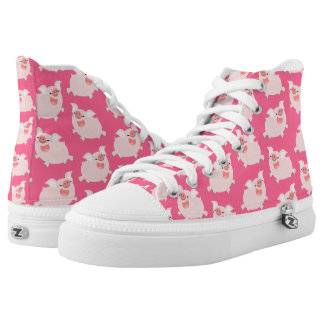 Cute Cheerful Cartoon Pigs Pattern High Tops