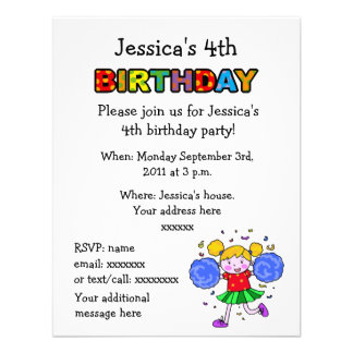 Cute cheerleader 4th birthday girl party personalized announcements