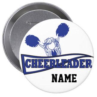 Cute Cheerleader Girl   DIY Name   Dark Blue 10 Cm Round Badge