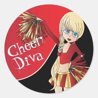 Cute Cheerleader Pom Pom Girls   Red Round Sticker