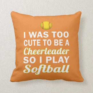 Cute Cheerleader Softball Cushion