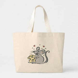 cute cheese loving mouse tote bag