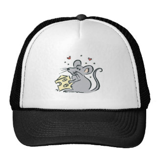 cute cheese loving mouse mesh hats