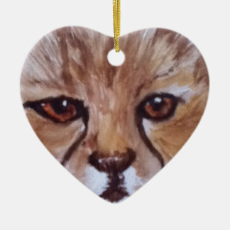 Cute cheetah ceramic heart decoration