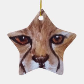 Cute cheetah christmas ornament