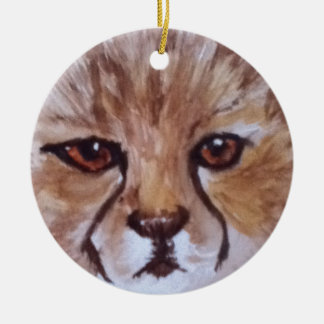 Cute cheetah christmas ornament