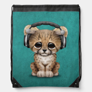 Cute Cheetah Cub Dj Wearing Headphones on Blue Drawstring Bag