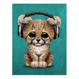 Cute Cheetah Cub Dj Wearing Headphones on Blue Postcard