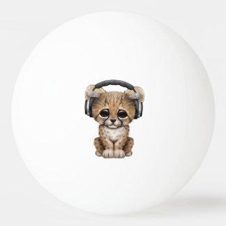 Cute Cheetah Cub Dj Wearing Headphones Ping Pong Ball