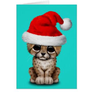 Cute Cheetah Cub Wearing a Santa Hat Card