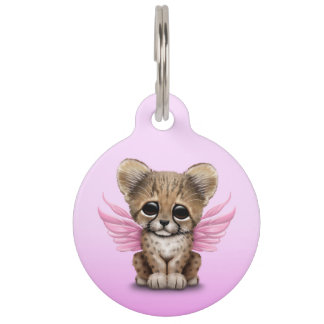 Cute Cheetah Cub with Fairy Wings on Pink Pet Tags