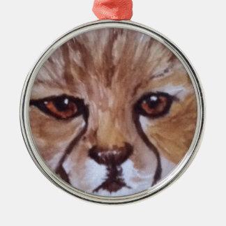 Cute cheetah Silver-Colored round decoration