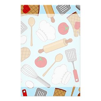 Cute Chef / Cook Love Pattern Blue Personalized Stationery