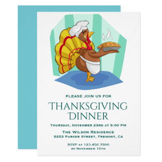 Cute Chef Turkey Thanksgiving Dinner Party Invite