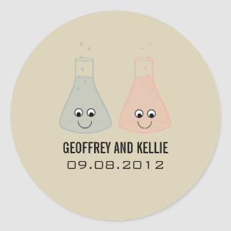 Cute Chemistry Wedding Stickers